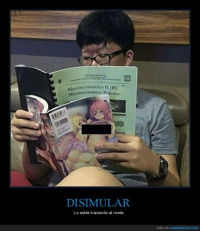 disimular,economía,estudiando,leyendo