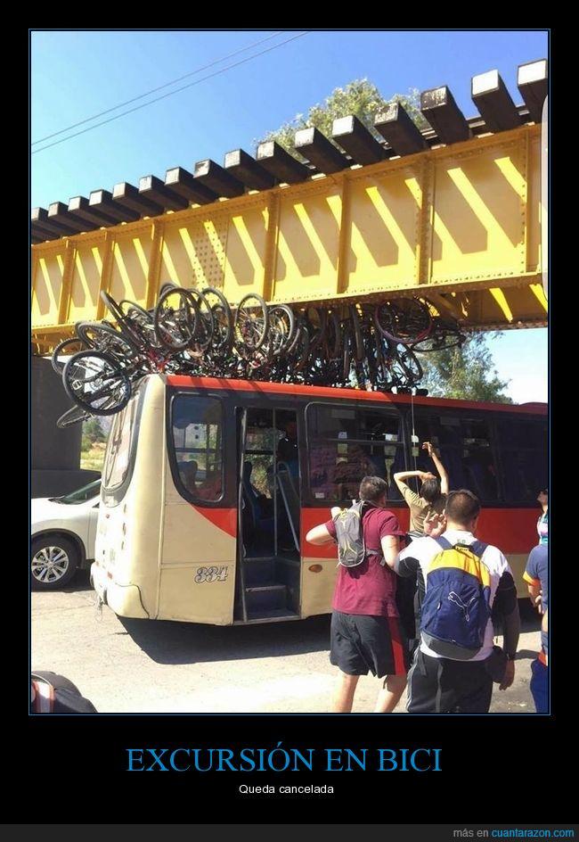 autobús,bicicletas,fail,puente