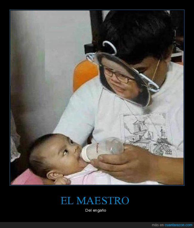 bebé,biberón,careta,fake,madre