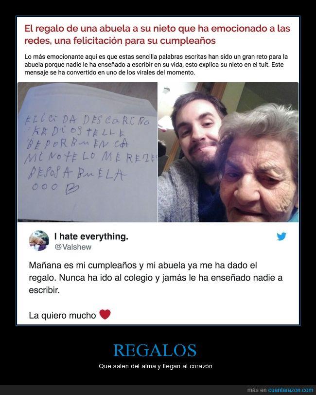 abuela,escribir,nieto,regalo