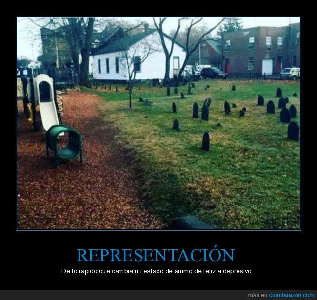 cementerioestado de ánimo,depresivo,feliz,parque infantil