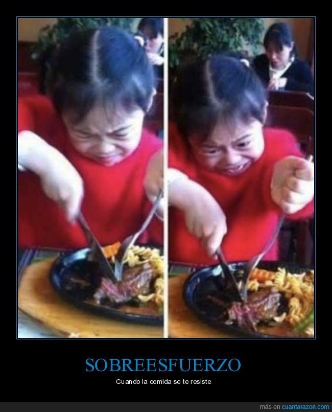 carne,cortando,esfuerzo,niña