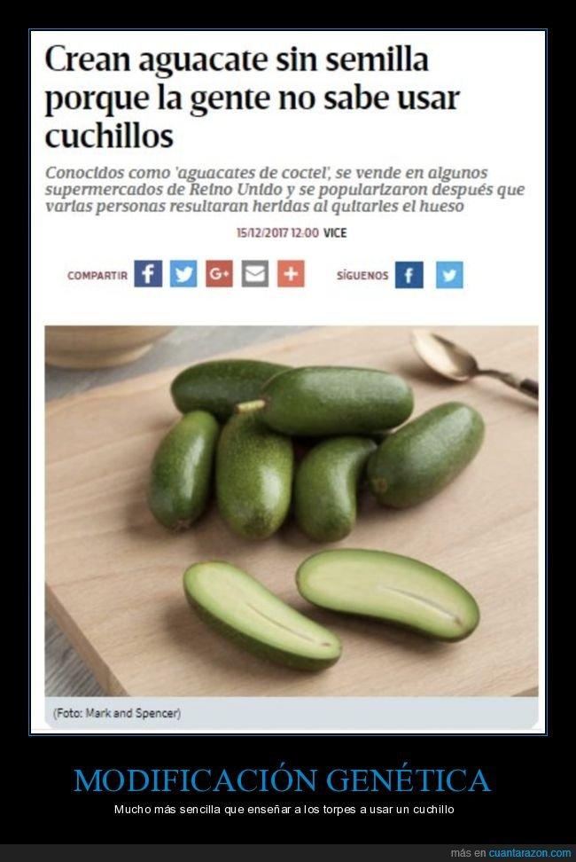 aguacates,cuchillo,modificación genética