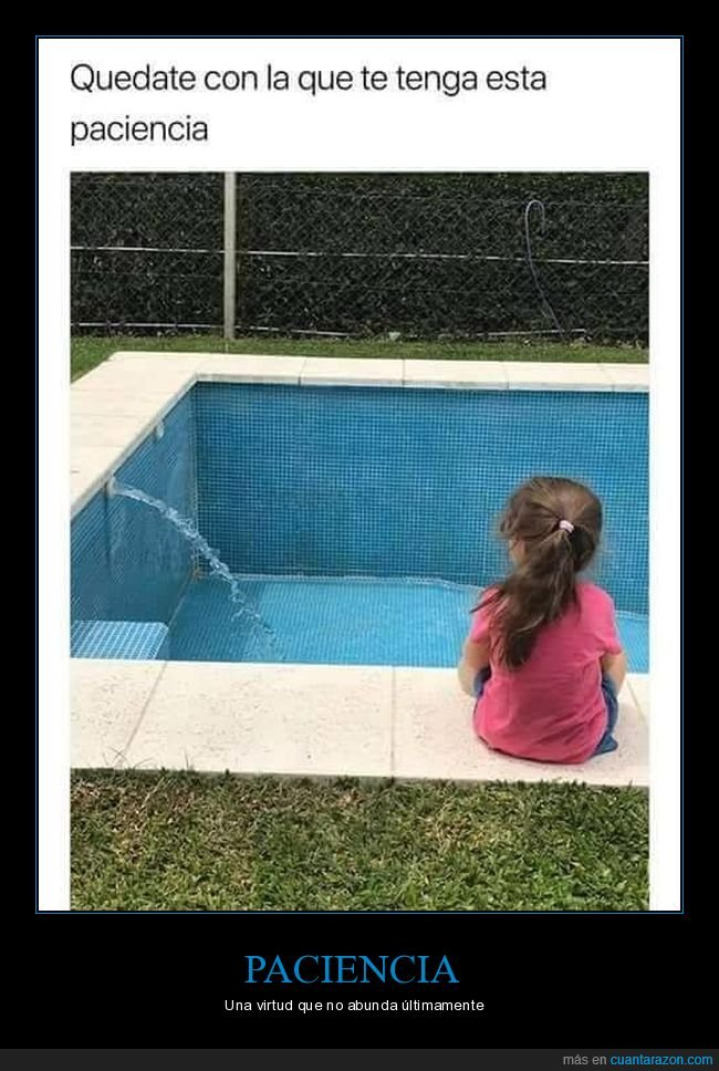 llenando,niña,paciencia,piscina