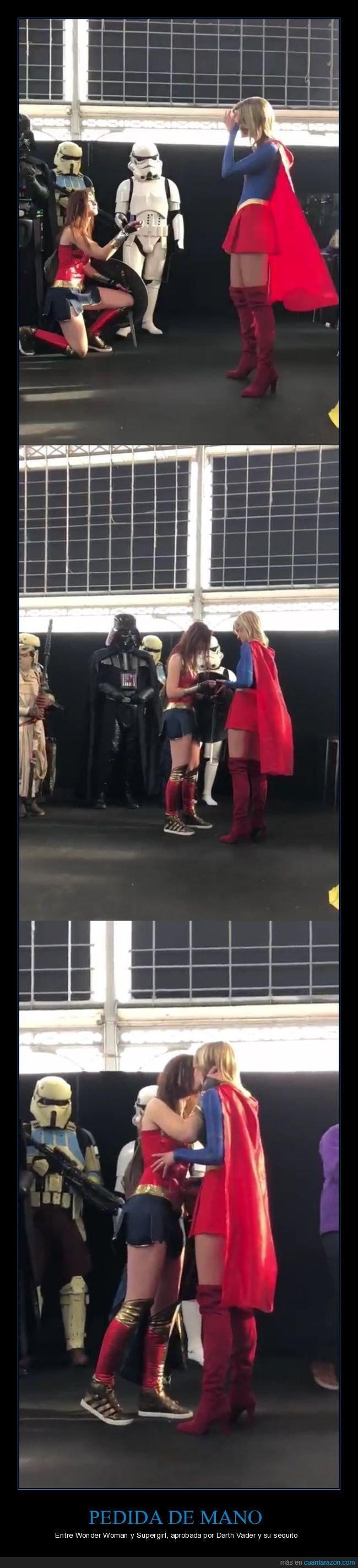 cosplay,darth vader,disfraces,pedida de mano,proposición de matrimonio,supergirl,wonder woman