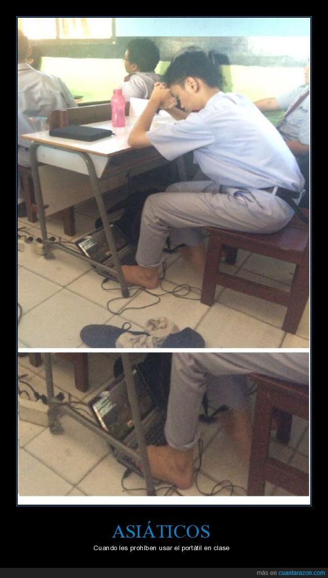 clase,ordenador,pies