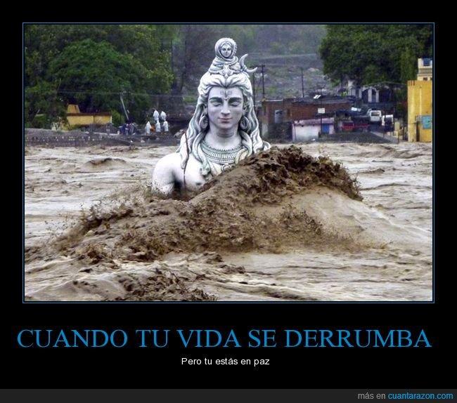 escultura,india,interior.,inundacion,paz,Shiva,vida