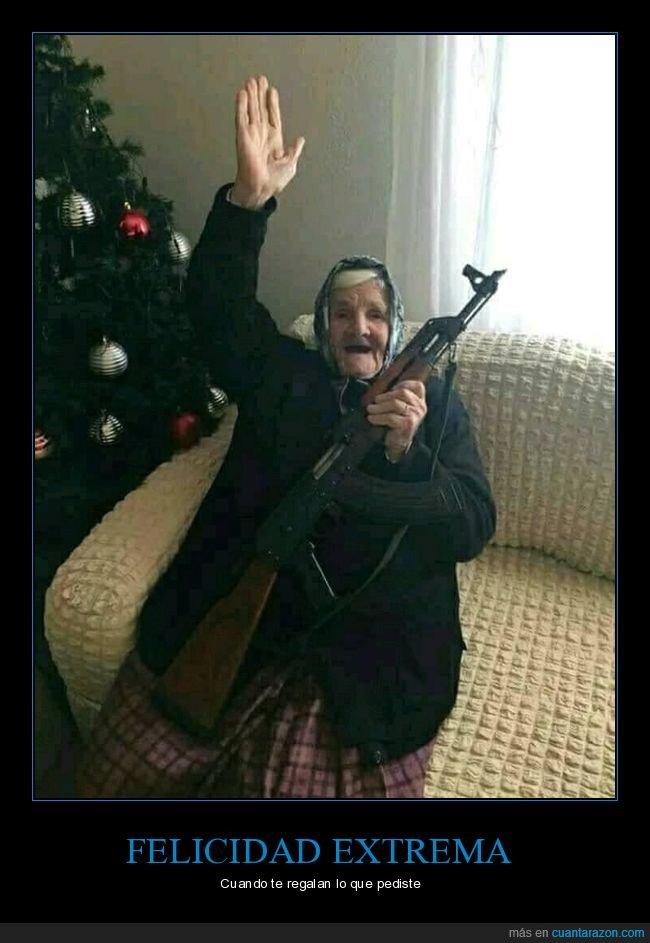 abuela rusa,ak-47,felicidad,navidad