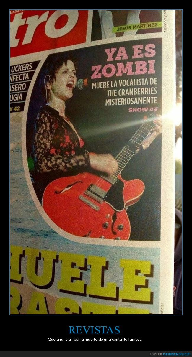 dolores o'riordan,muerte,revista,the cramberries,zombi