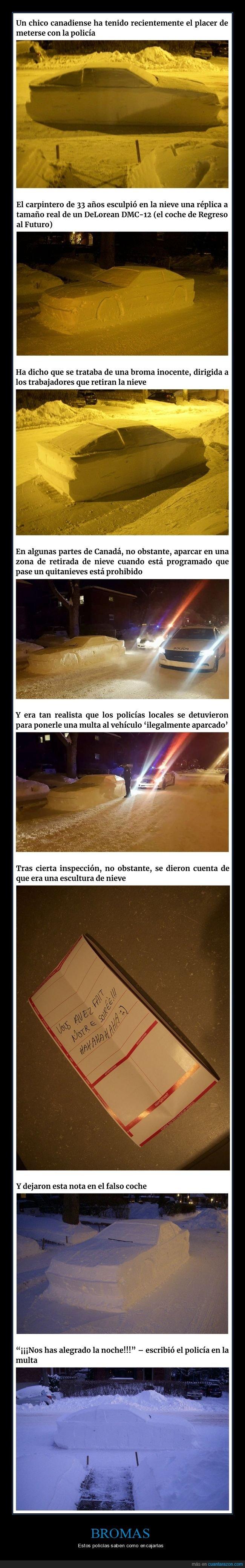 coche,multa,nieve,policía