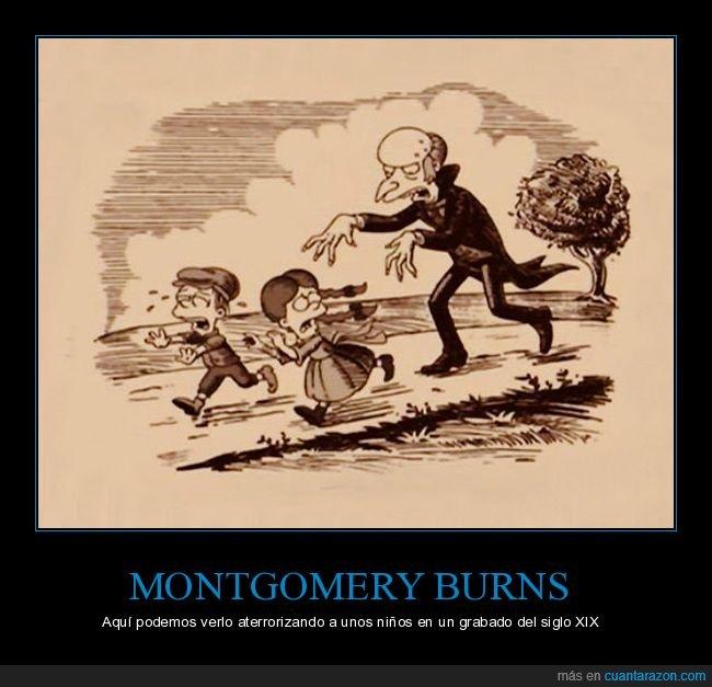 aterrorizando,grabado,niños,señor burns,siglo xix,simpsons
