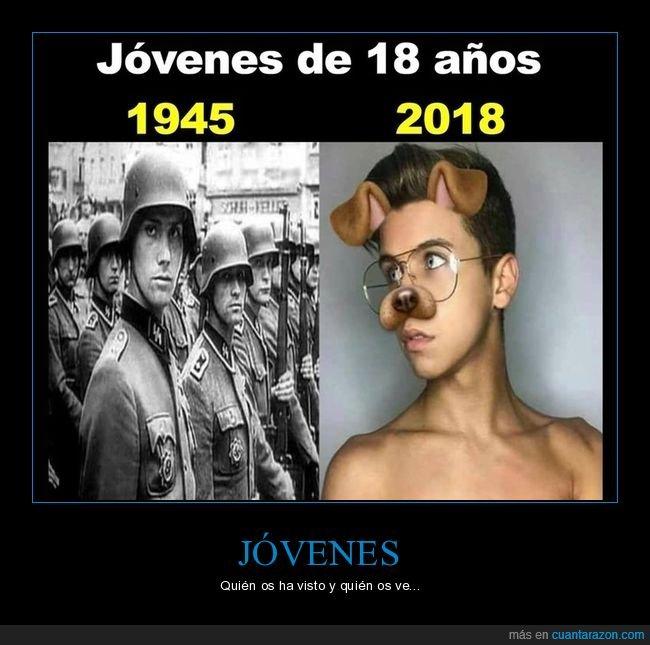 18 años,1945,2018,jóvenes