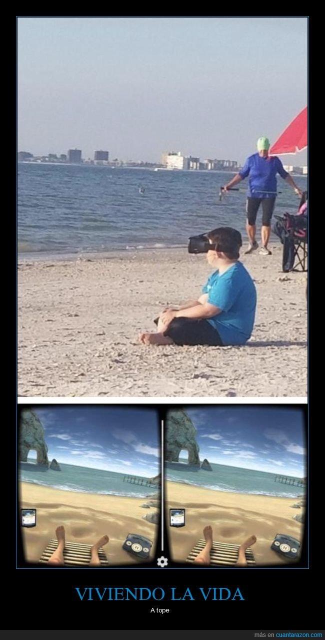 niño,playa,realidad virtual