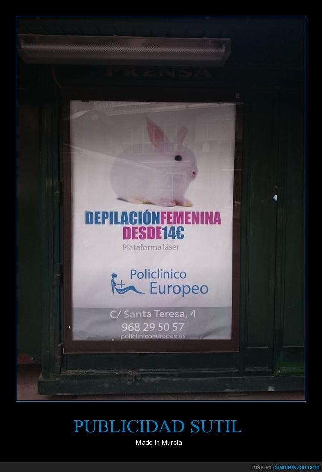 conejo,depilación,femenina,publicidad,sutil