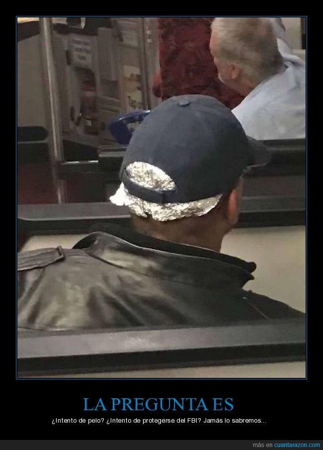 cabeza,gorra,papel de aluminio,wtf