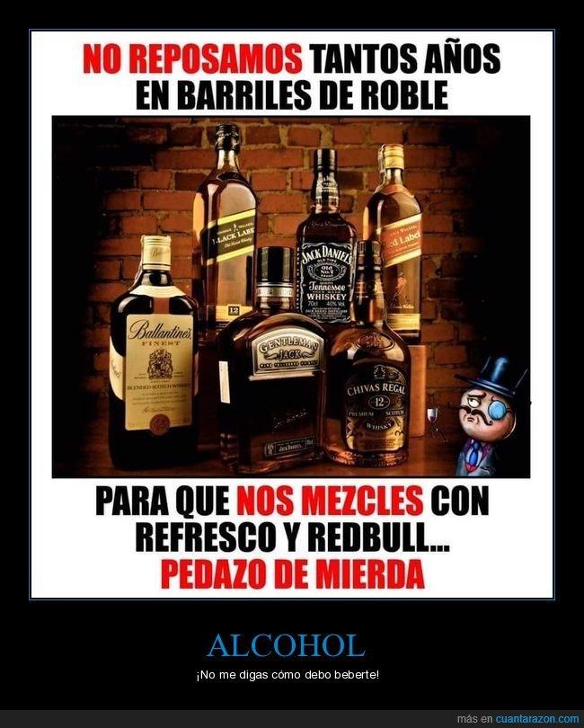 barriles de roble,mezclar,red bull,refresco,repostar,whisky