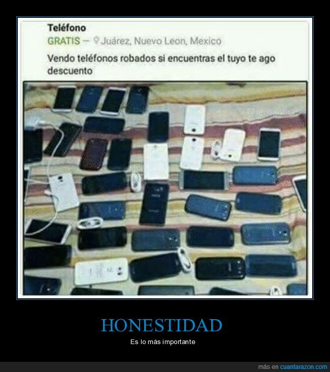 anuncio,honestidad,móviles,robados
