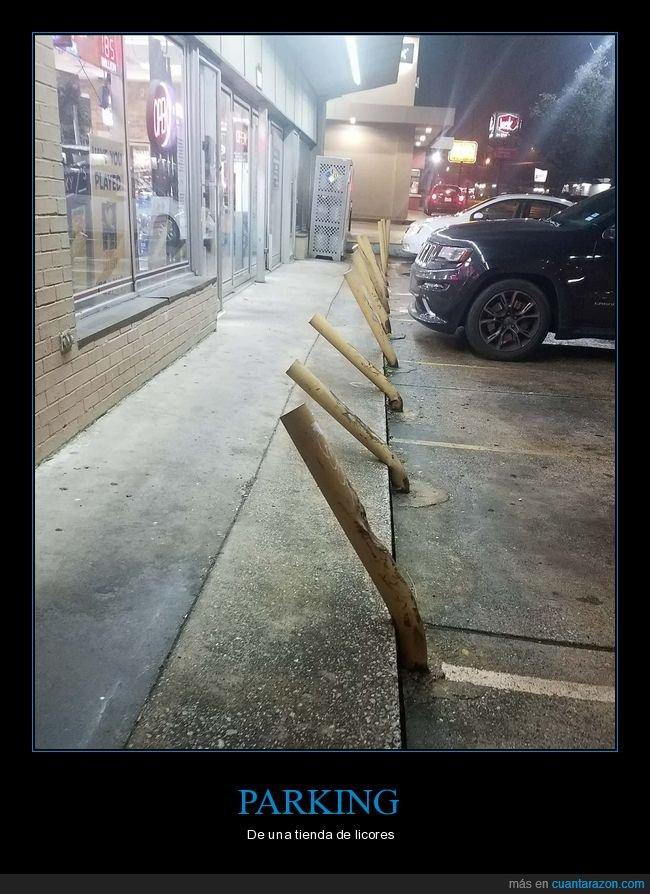 borrachos,parking,tienda de licores