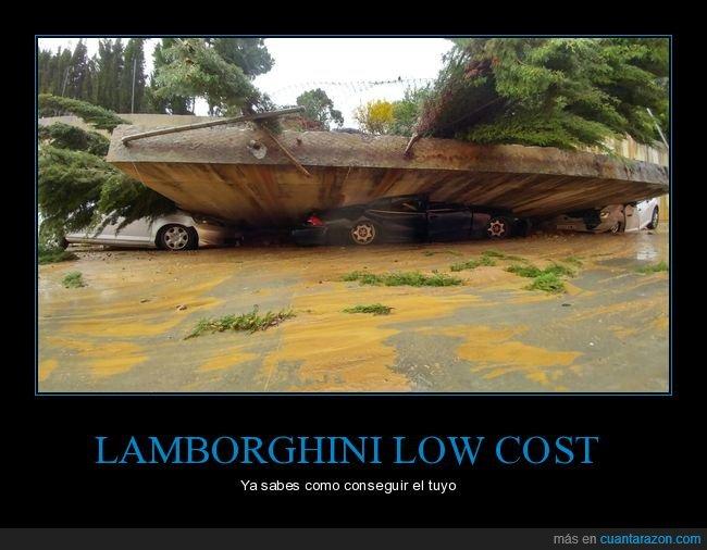 aplastado,coche,fails,lamborghini,low cost