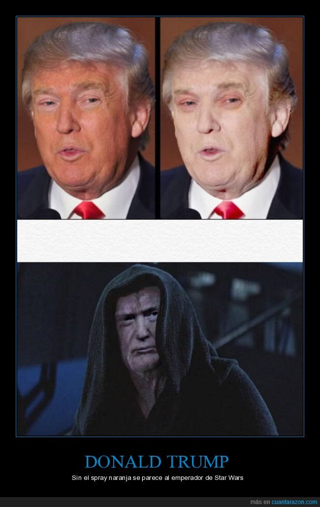 bronceador,donald trump,emperador,parecidos,políticos,spray,star wars