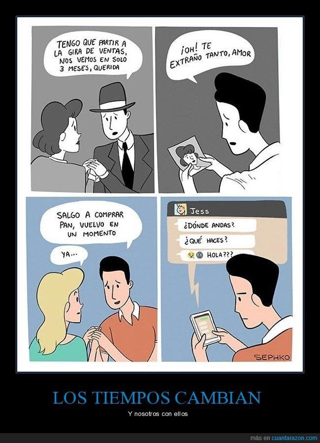 ahora,antes,móvil,pareja