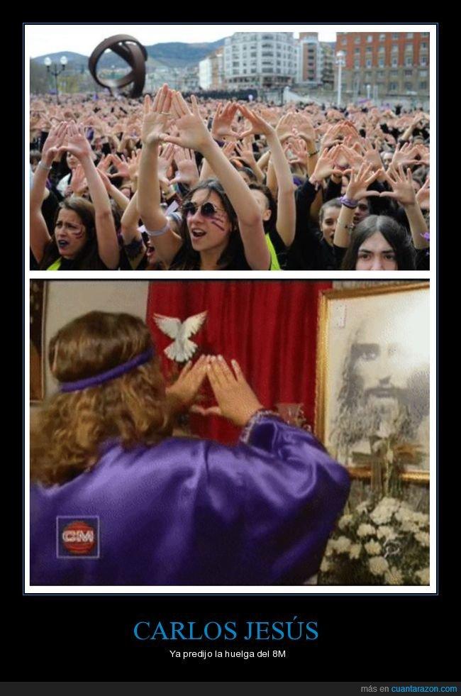8M,carlos jesús,feministas,símbolo