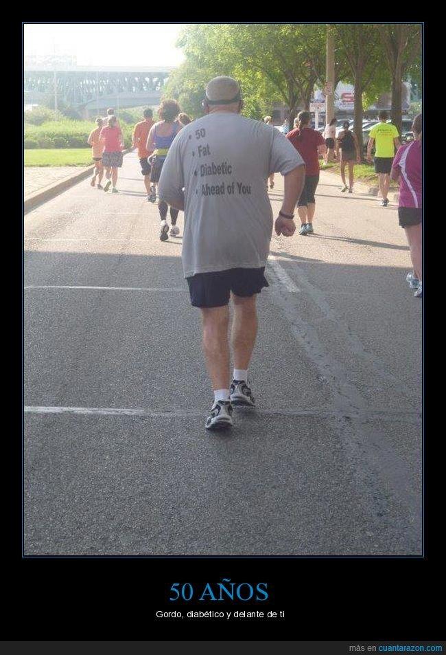50 años,corriendo,delante,diabético,gordo