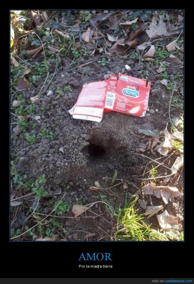 agujero,condón,tierra