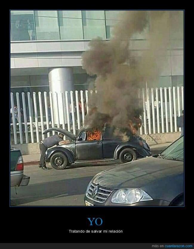 ardiendo,arreglando,coche
