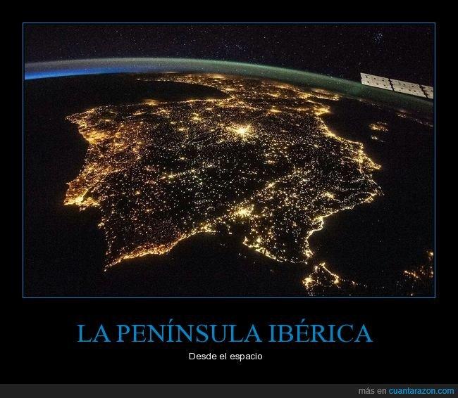 espacio,luces,noche,península ibérica