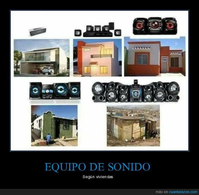 equipo de sonido,viviendas