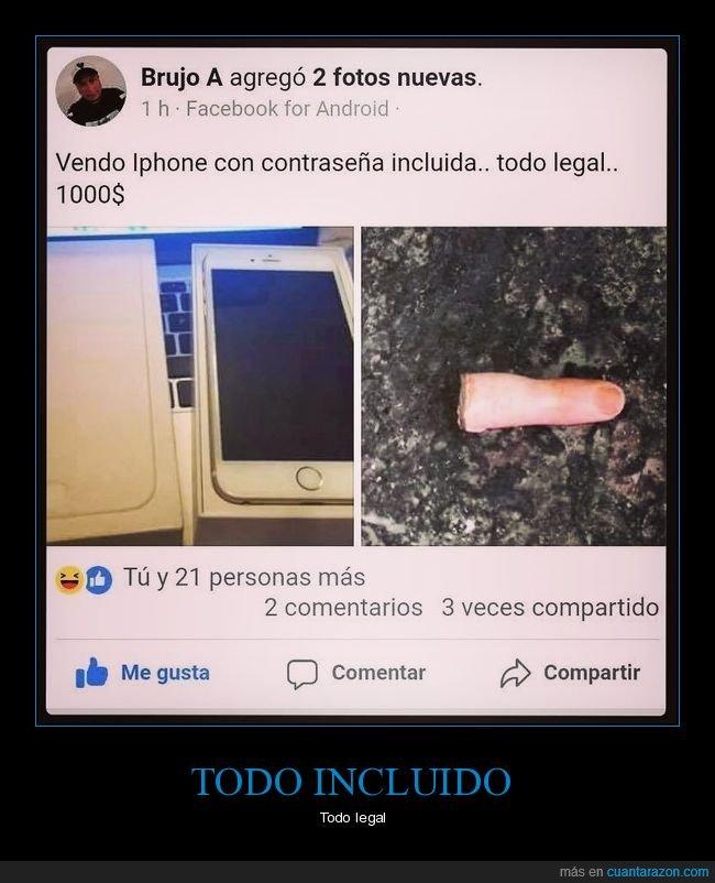 contraseña,dedo,iphone