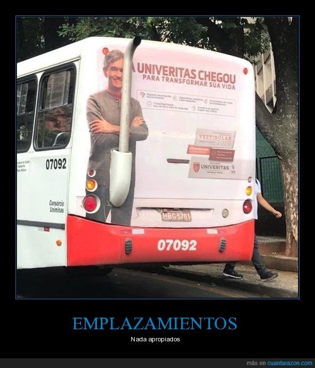 anuncio,autobús,fails,tubo de escape