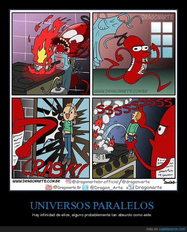 extintor,fuego,humano,universo paralelo