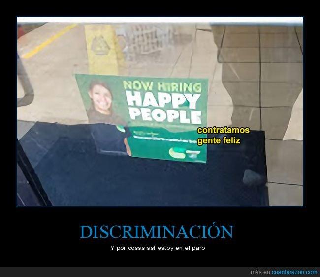 contratando,discriminación,gente feliz
