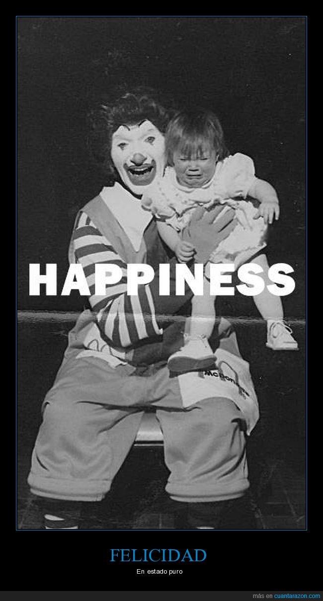 felicidad,llorando,mcdonald's,niña,payaso