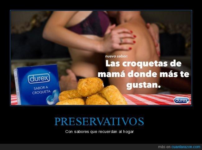 croquetas,preservativos,sabor