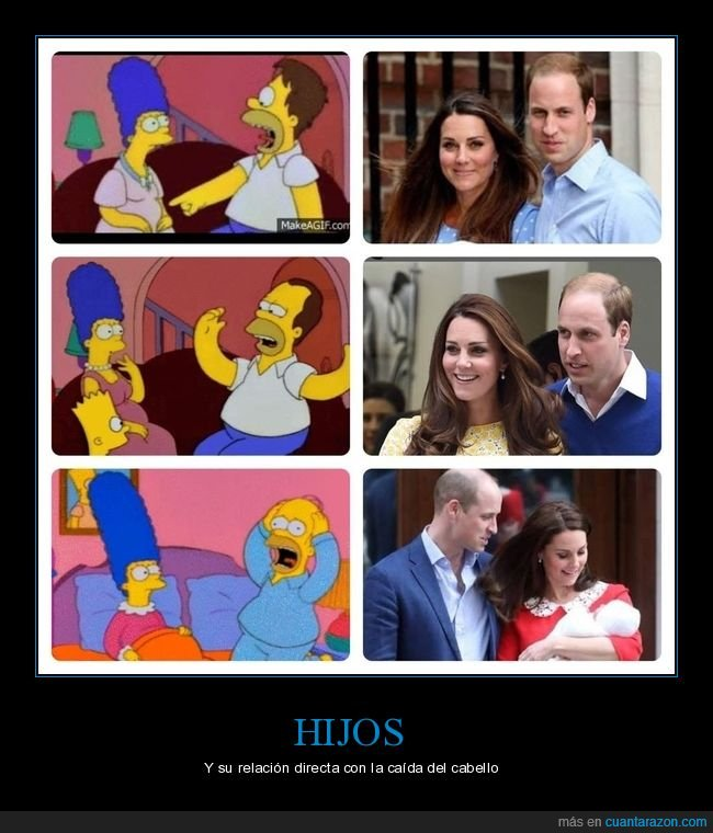 hijos,kate middleton,pelo,príncipe guillermo,simpsons