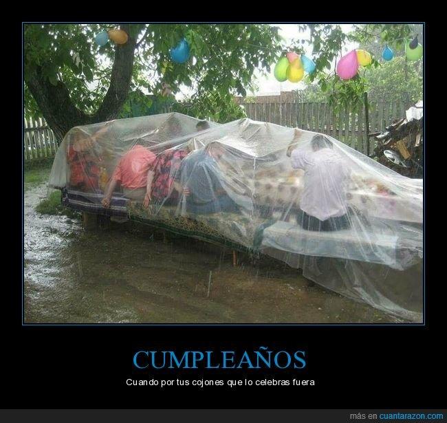 cumpleaños,lluvia,plástico
