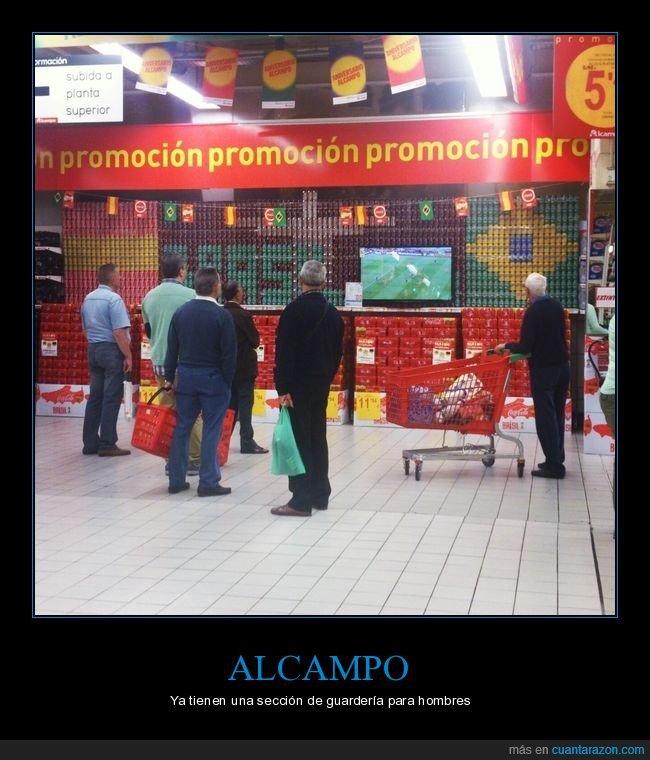 alcampo,fútbol,pantalla,supermercado