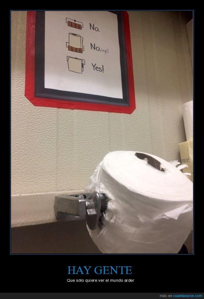 aseo,cartel,papel higiénico,trolling