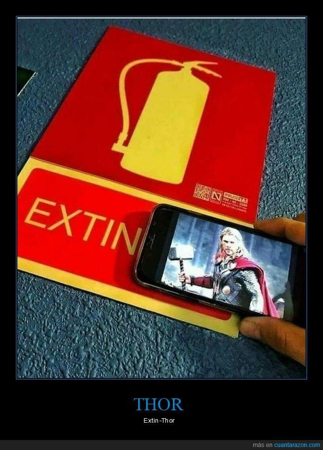 absurdo,cartel,extintor,thor