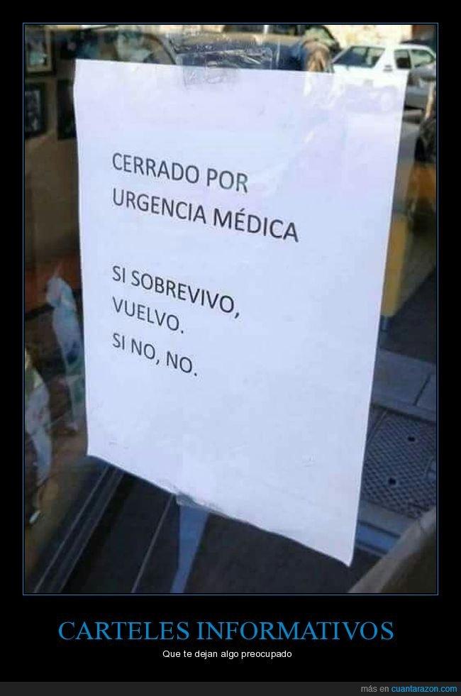 cartel,cerrado,sobrevivir,urgencia médica