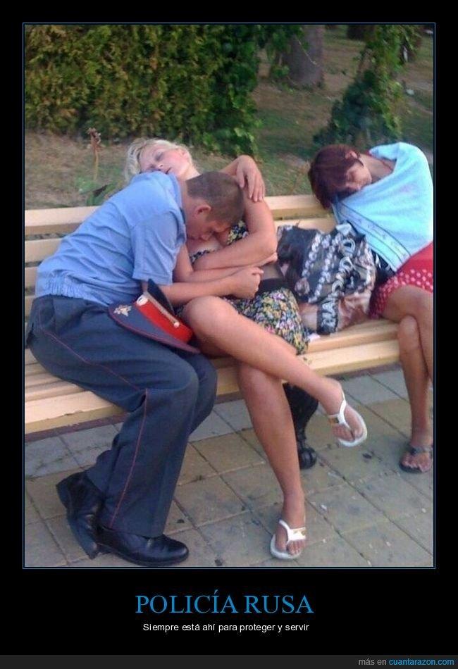 chicas,durmiendo,policía,rusos,wtf