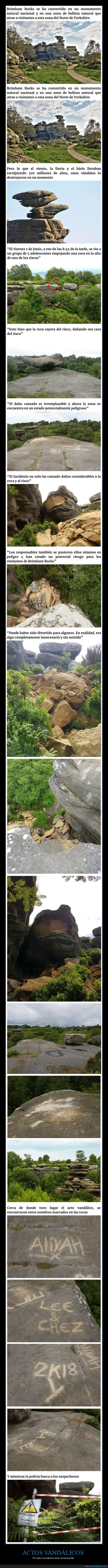 brimham rocks,monumento natural,rocas,vandalismo