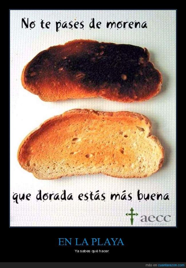 cáncer de piel,morena,pan,playa,tostadas