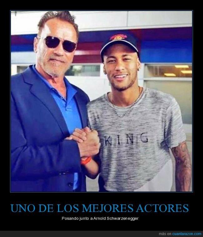 actor,fútbol,neymar,posando,schwarzenegger