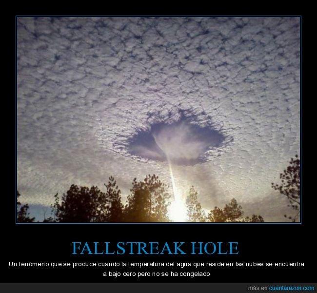 agujero en el cielo,curiosidades,fallstreak hole,nubes
