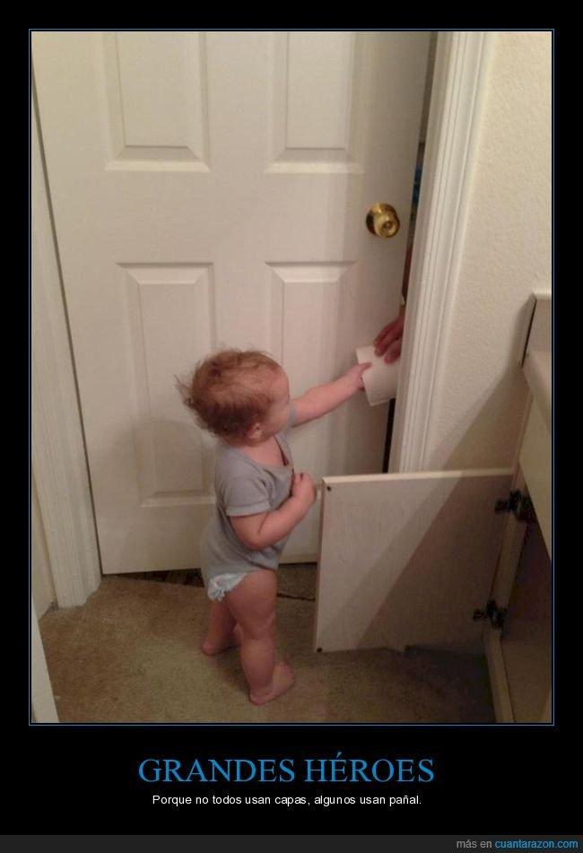 bebe,héroe,niño,papel higiénico