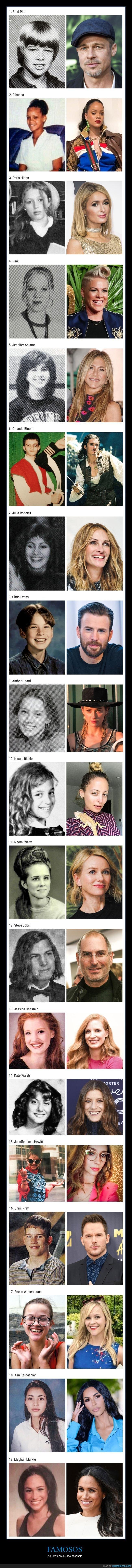 adolescencia,antes,después,famosos,jóvenes